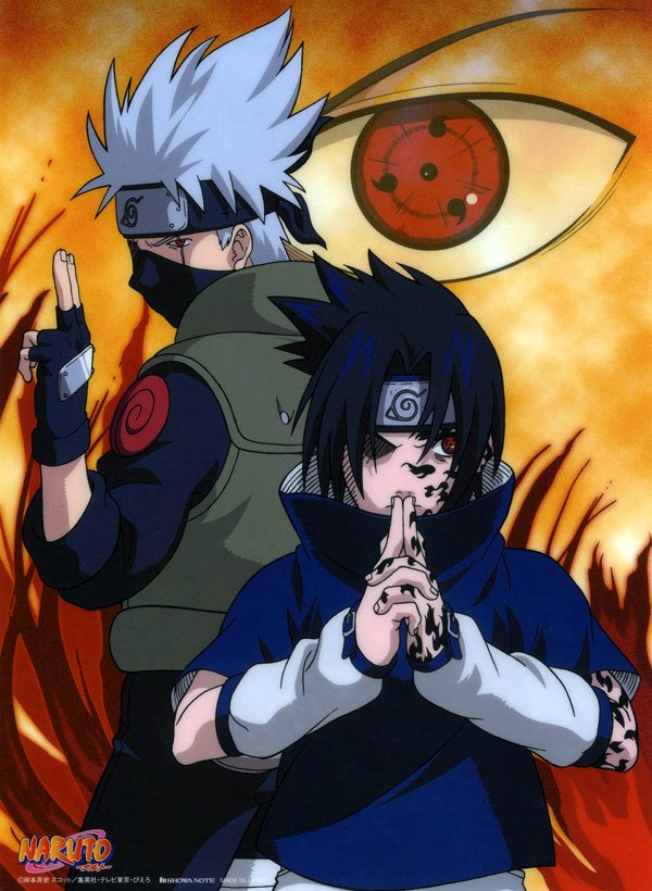 Kakashi ans Sasuke show off the Sharingan