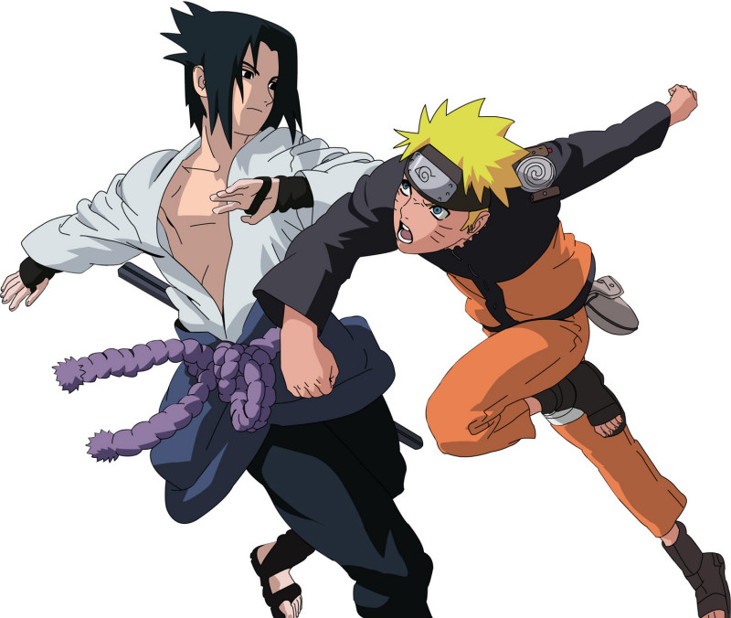 Naruto and Sasuke sparring