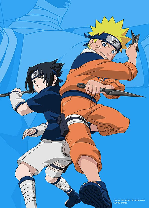 Naruto and Sasuke fight with weapons