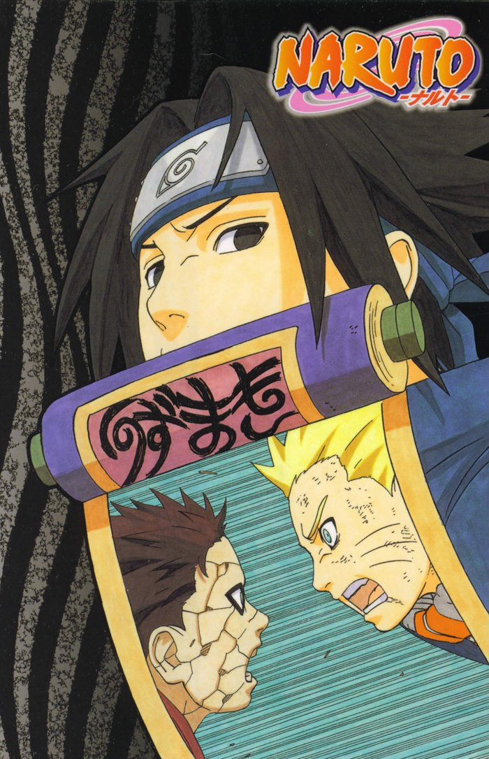 Sasuke holds the scroll