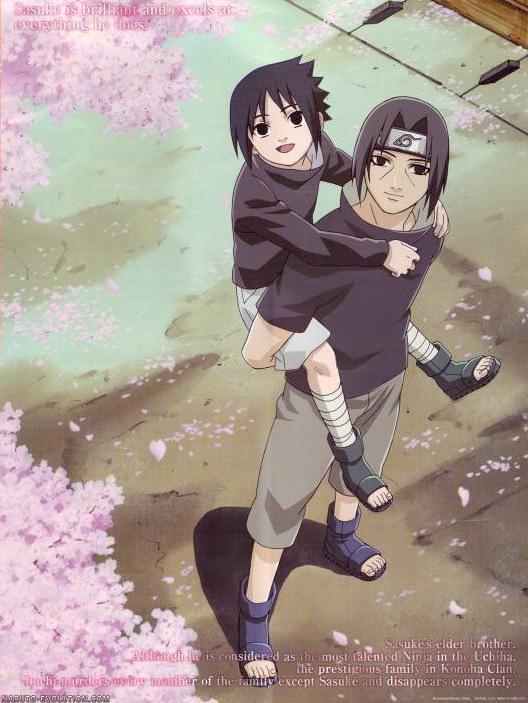 Young Sasuke on his brothers shoulders
