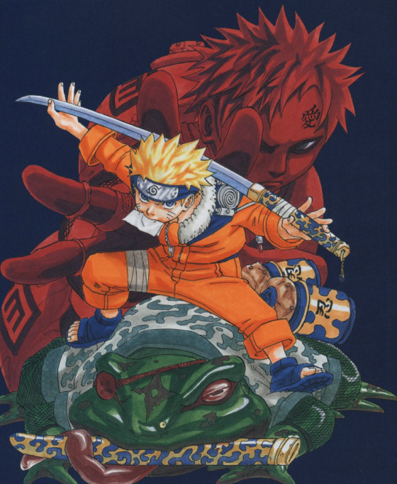 Naruto riding a large frog