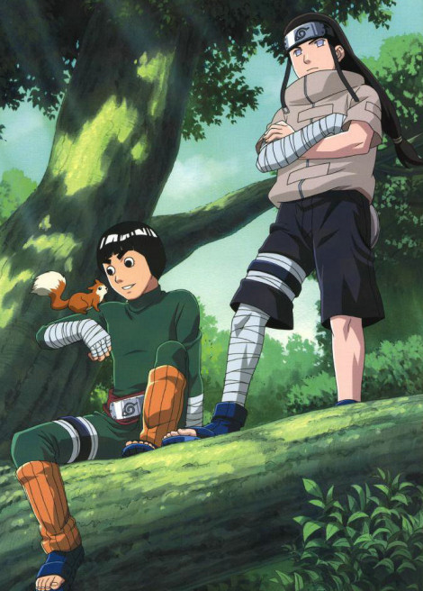 Rock Lee, Neji and a squirrel