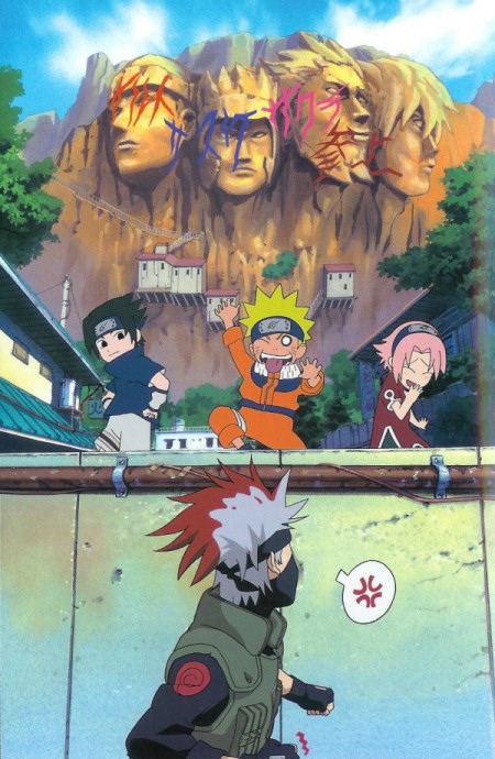 Naruto paints graffiti on the Hokages